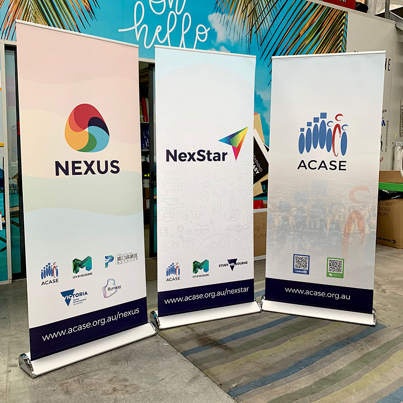 Silver Premium Stand Pull Up Banners - ACASE