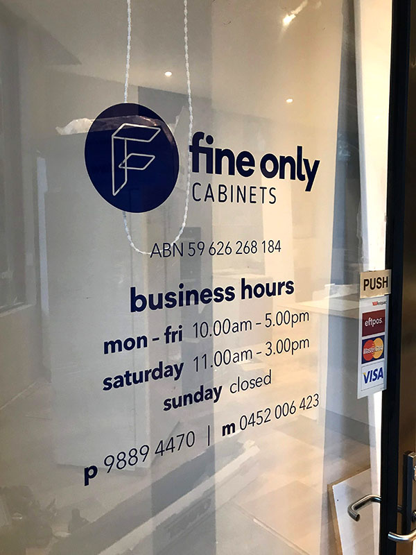 Trading Hours - Fine Only Cabinets