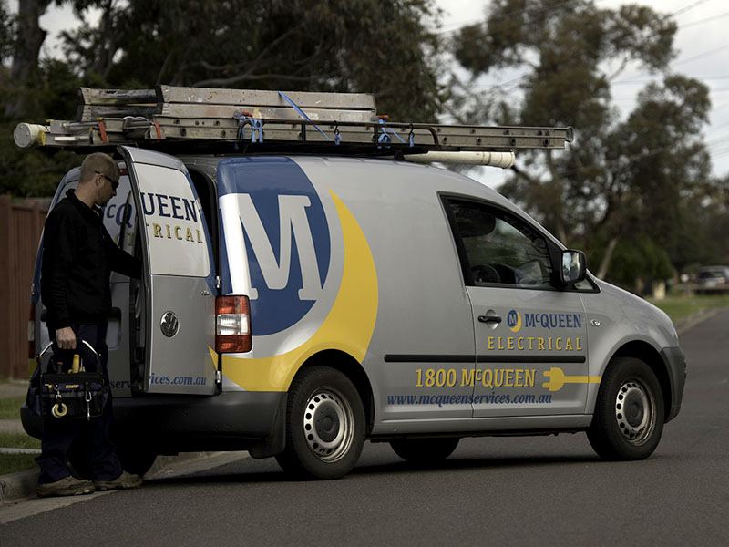 McQueen Group - Electrical VW Caddy Signage